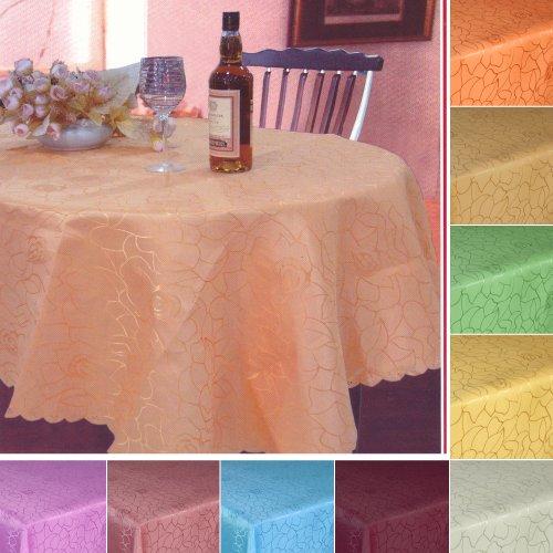 Damast tafelkleed in rozendesign OVAL - grootte en kleur vrij te kiezen