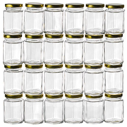 PremiumVials 12 Pcs, 6 Oz Large Hexagon Glass Jars with Gold Lids for Jam, Honey, Wedding Favors, Shower Favors, Baby Foods, DIY Magnetic Spice Jars