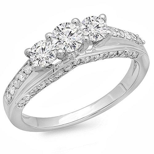 Dazzlingrock Collection 1.25 Carat (ctw) 14k Round Diamond Ladies Bridal Engagement 3 Stone Ring 1 1/4 CT, White Gold, Size 7