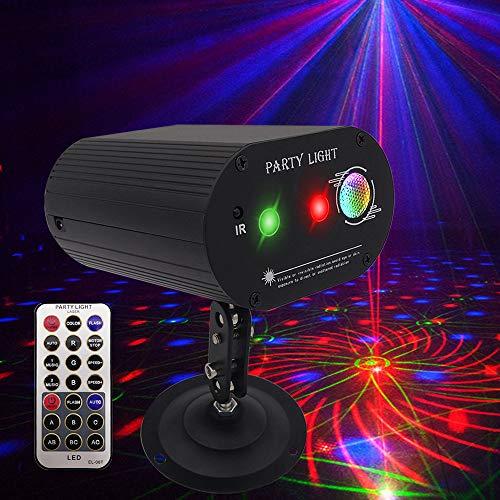 Luz de DJ para discoteca, luz estroboscópica, 36 patrones, luz de escenario + luz LED 2 en 1, efecto de proyector activado por sonido...