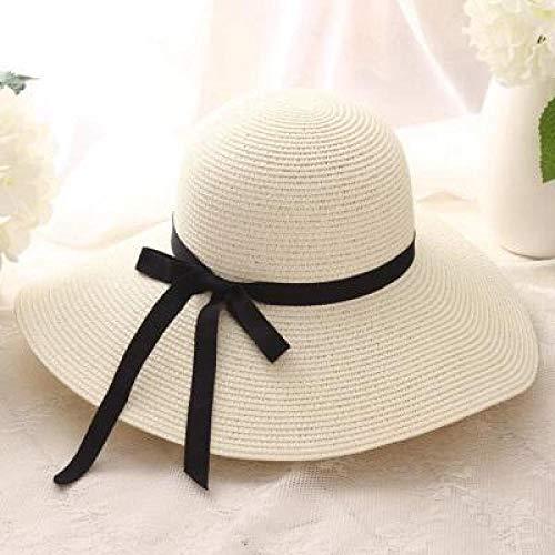 Sombrero De Playa para Gran Oferta, Sombreros De Paja De ala Ancha De Rafia Superior Redonda, Sombreros De Sol De Verano para Mujeres con Sombreros De Playa De Ocio, Dama Blan