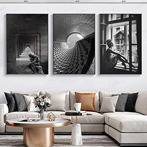 Obra de arte nórdica pintura en lienzo en blanco y negro impresiones de edificios abstractos y carteles Imagen de arte de pared para la decoración del hogar de la sala de estar- (50X70cm) X3 sin marco