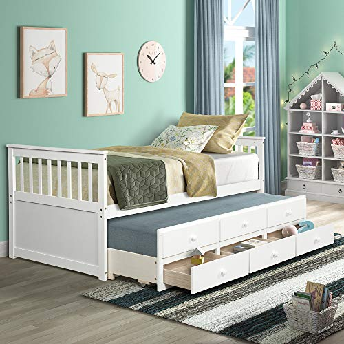 Zebery TOPMAX Captain's Bed Twin Daybed with Trundle Bed and Storage Drawers, White