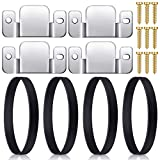 Hotop 4 Pieces Universal Sectional Sofa Couch Connectors Interlocking Furniture Connector Bracket with 10 Screws and 4 Pieces Sofa Rubber Couch Straps Band for Sliding Sofa Chair or Chaise Lounge