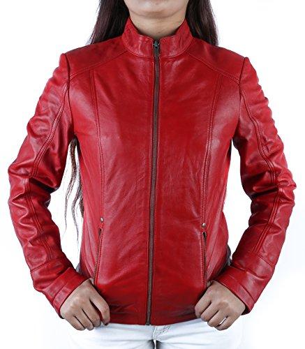 Urban Leather Fashion Chaqueta de Cuero, Rojo, S