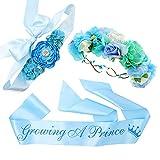 'Growing a Prince' Sash & Flower Crown & Sky Blue Maternity Sash Kit - Baby Shower Sash Prince Baby Boy Shower Baby Sprinkle (Blue)