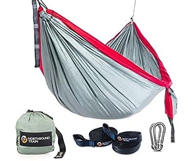 Camping Hammock - Portable Hammock - Bonus Compression sack. 25% wider than Single Hammocks. Parachute Hammock Ripstop provides safe fun and bed-like comfort for camp, beach, travel, backyard fun.