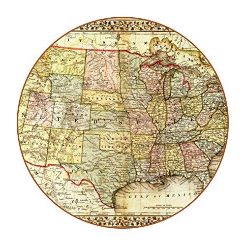 Bennigiry Juego de 6 posavasos redondos con estampado de mapas de la vendimia América para manteles individuales de taza de bebida