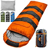 HiHiker Camping Sleeping Bag + Travel Pillow w/Compact Compression Sack – 4 Season Sleeping Bag for Adults & Kids – Lightweight Warm and Washable, for Hiking Traveling. (Orange)