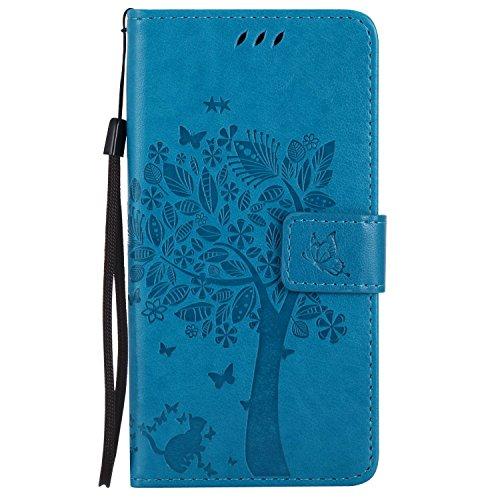 Guran® PU Leder Tasche Etui für Microsoft Lumia 640 Dual-SIM Smartphone Flip Cover Stand Hülle & Karte Slot Hülle-blau…