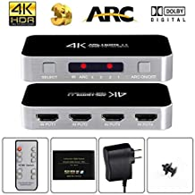 avedio links HDMI Switch with Audio Out, 4K@60Hz 4 Port 4 x 1 HDMI Switcher Selector with IR Wireless Remote Control,Max B...