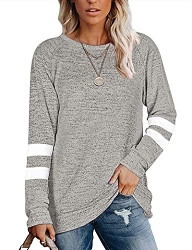MOLERANI Suéteres para Mujer para otoño Sudaderas Ligeras Camisas Casuales de Manga Larga Caqui S