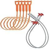 Set di alberi per la pulizia dei tubi da 7 pezzi, facile da usare, drenaggio dello scarico del serpente, strumento per la pulizia dei capelli, detergente per drenaggi per lavandini delle fogne