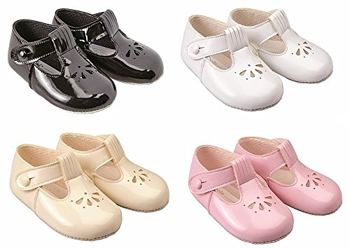 Baypods Baby Girls Soft pram Shoes by Early Days 6-12 Months Black