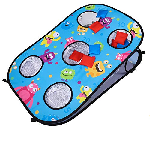 CLISPEED 2 in 1 Wurfspiel Set Cornhole Spiel Tic Tac Toe Double Games mit 10 Bean Bags (Blau)