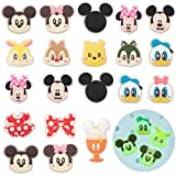 CY2SIDE 20PCS Mickey Glowing Shoe Charm for Kids, Glow in the Dark Shoe Decoration Charm for Kids, Minie Bracelet Wristband Charms for Toddlers, Clog Decor for Girl Boys Slip on, Treasure Toys Mini