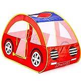 GIGALUMI Pop Up Spielzelt Rot Faltbar Auto Spielhaus für Kinder im Innen und Außenreich