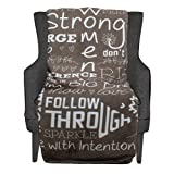 Cozy Covers - Strong Women - Inspirational Words Blanket - Perfect Size 50' x 60' Super Soft Ultra Plush Sherpa Throw for Love, Healing, Positivity and Encouragement (Taupe)