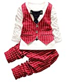 Infant Boy Toddler Tuxedos Gentleman formal Wear Wedding Suit Red Plaid,Red Plaid,80(6-12months)