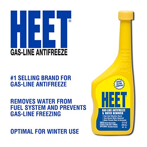 HEET Gas-Line Antifreeze And Water Remover - Removes Water From Fuel System - Prevents Gas-Line Freezing - Optimal For Winter Use Fast Cold Weather Starts, 12 fl. oz. (28201)