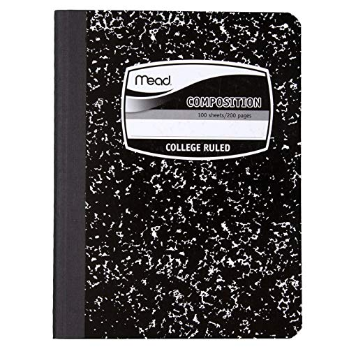 Mead Composition Books, Notebooks, College Ruled Paper, 100 Sheets, Comp Book, Black Marble, 12 Pack (72938)
