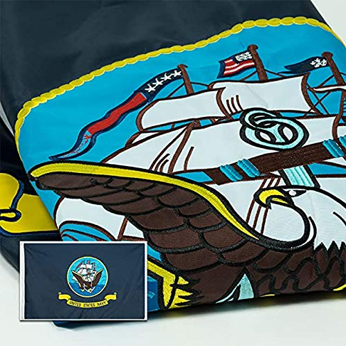 Front Line Flags Navy Flag 3x5 ft, Embroidered Heavy Duty & Double-Sided | Military Banner for Inside/Outside Use | UV Protected Long Lasting Nylon | Brass Grommets for Easy Display | USN Flag