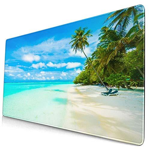 LASINSU Alfombrilla Gaming,Sun Blue Resort Tropical Beach Sea Maldives Sky Island Naturaleza Parques Paradise Tree Ocean Water,con Base de Goma Antideslizante,750×400×3mm