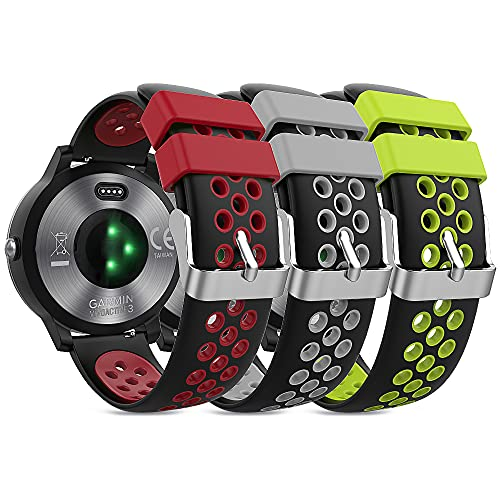TUSITA Quick Release Band 20mm [3-PACK] Compatible with Garmin Forerunner 245 645 945, S40, Venu Sq, Vivomove 3 HR Style, Huawei Watch 2 GT2 - Silicone Replacement Strap Bracelet Smartwatch Wristband