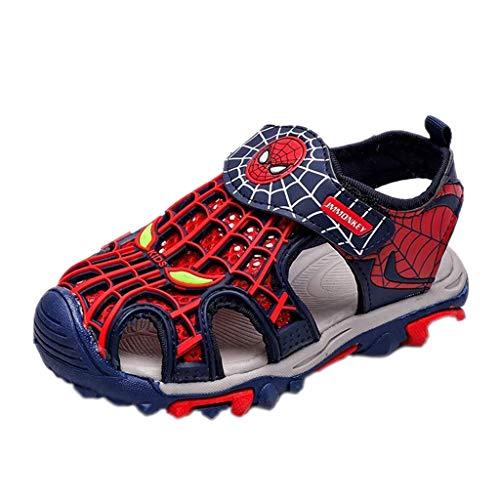 BHJqsy Kinder Spider-Man Sandalen Sommer, Junge Mädchen geschlossene Zehe Leichte Outdoor-Breath Trekking-Strand-Schuhe (Color : Red, Size : 33)