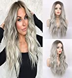 LANOVA Ombre Brown Silver Platinum Grey Wigs for Women Non Lace Cheap Natural Looking Wavy Hair Synthetic Wigs 22 inch LANOVA-101