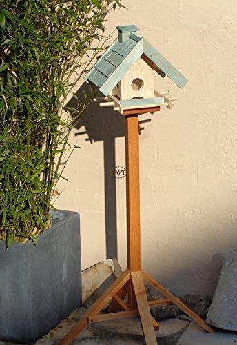 Vogelfutterhaus,BEL-X-VOWA3-türkis002 Großes Vogelhäuschen + 5 SITZSTANGEN, KOMPLETT mit Futtersilo + SICHTGLAS für Vorrat PREMIUM Vogelhaus – ideal zur WANDBESTIGUNG – vogelhäuschen, Futterhäuschen WETTERFEST, QUALITÄTS-SCHREINERARBEIT-aus 100% Vollholz, Holz Futterhaus für Vögel, MIT FUTTERSCHACHT Futtervorrat, Vogelfutter-Station Farbe türkis ANTIKBLAU meeresblau blau-grün / natur, MIT TIEFEM WETTERSCHUTZ-DACH für trockenes Futter - 3