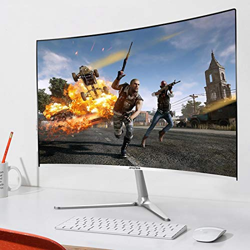 NIUPAN 24-Inch Ultra-Thin High-Definition Monitor Gaming Gaming IPS4 Home Office HDMI LCD 144HZ Borderless Curvedsurface[noborder+75Hz] White