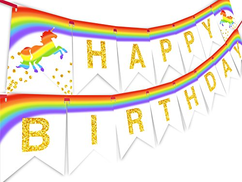 Unicorn Brights Rainbow Happy Birthday Banner Pennant
