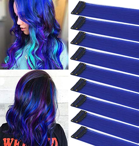 ECOCHARMS 9PCS Colored Clip in Hair Extensions Kid Hair Extensions Blue Straight Hair Extensions Clip in for Kids dolls Multi-Colors Party Highlights Hairpieces(Sapphire Blue)