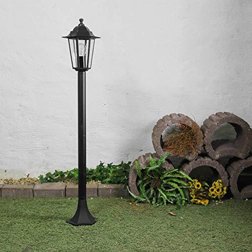 Rustikale Stehleuchte Schwarz E27 Gartenleuchte Alu Glas Wegeleuchte Stehlampe Hof Terrasse Garten