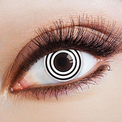 aricona Kontaktlinsen - Weiß-schwarze Kontaktlinsen mit hypnotisierender Spiral-Optik - Schwarze Kontaktlinsen ohne Stärke für Halloween, Fasching, Karneval, 2 Stück