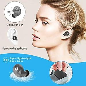 Bluetooth Wireless Earbuds, Bluetooth Headset Wireless Earphones IPX7 Waterproof Bluetooth 5.0 Stereo Hi-Fi Sound with 2200mAh Charging Case (Black)