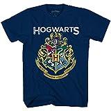 Harry Potter Hogwarts Distressed Seal Emblem Boys Youth T-Shirt(Heather Navy,Small)