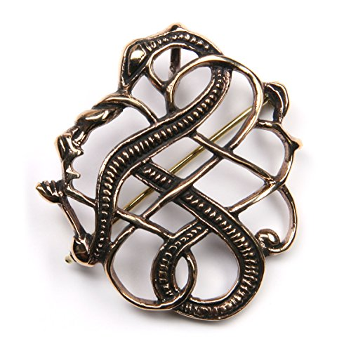 Drachensilber Drache Brosche Schmuck Bronze keltische Gewandnadel Drachen Fibel Mittelalter hochwertige Anstecknadel