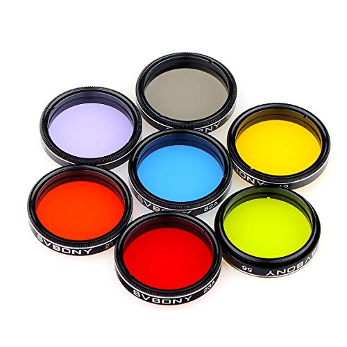 SVBONY Telescope Filter 1.25 inches Moon Filter CPL Filter Five Color Filters Kit 7pcs Filters Set for Enhance Lunar Planetary Views Reduces Light Pollution