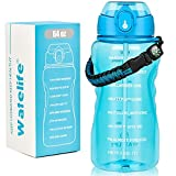 Water Bottles with Times to Drink, Half Gallon Water Bottle with Straw and Handle, 64 OZ Water Bottle with Time Marker, Reusable Motivational Water Bottles for Gym, Office, Sports & Outdoors