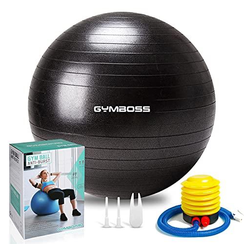 GYMBOPRO Fitness Pelota de Ejercicio - Bola Suiza con Bomba de Inflado ,Bola de yoga antirrebote y antideslizante Bola de equilibrio para gimnasio Pilates Gimnasio de yoga (75 cm, Negro)