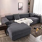 Homefurnishing Sofabezug l Form Ecksofa Sofa Spannbezug Stretch Sofabezug Set für 1-4 Sitzer Sofa(Wenn Ihr Sofa für L-Form Ecksofa ist, müssen Sie Zwei kaufen)(grau-3 Sitzer)