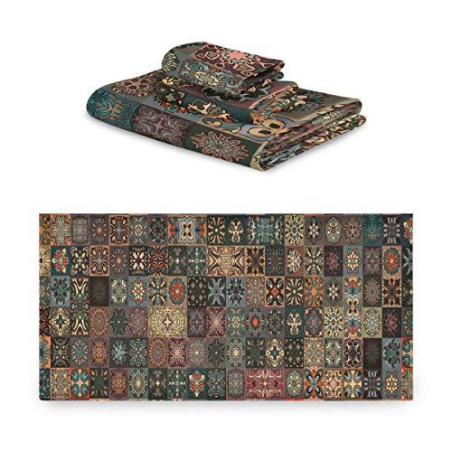 Juego de toallas de verano Conjunto de toallas de estilo tribal antiguo Mandala floral para baño extremadamente absorbente, hermoso juego de toallas de 3 piezas 1 toalla de baño, 1 toalla de mano, 1