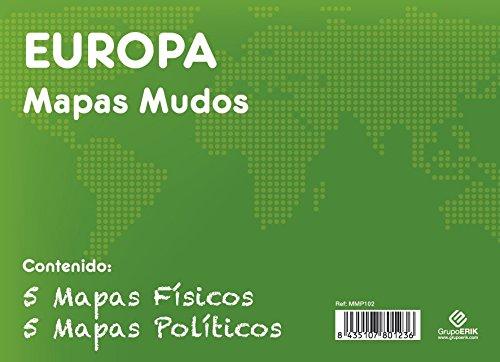 GRUPO ERIK EDITORES, S.L. - Pack mapas mudos es Europa 5+5 Grupo Erik blanco y celeste