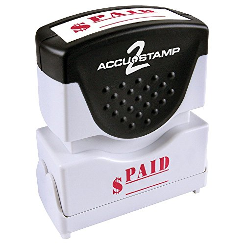 "ACCU-STAMP2 Message Stamp with Shutter, 1-Color, PAID, 1-5/8"" x 1/2"" Impression, Pre-Ink, Red Ink (035578)"