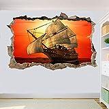 Yxsnow 3D Pegatinas de pared Velero retro Extraíble Agujero en la pared Vinilo Decorativo Pegatinas Vista de Efecto Adhesivos De Pared