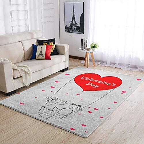 COMBON Shop Alfombra para el día de San Valentín fuerte moderno – Alfombra decorativa para el hogar cocina blanca 91x152cm