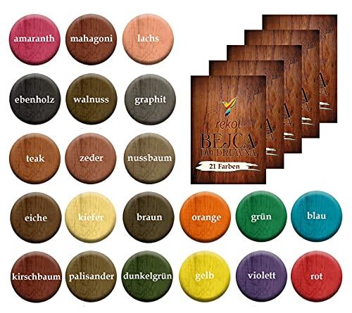 5x18g Holzbeize Möbelbeize Trockenbeize Holzfarbe Pulverbeize große Farbauswahl, Farbe:Farbmix 2