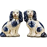 OR Staffordshire Reproduction King Charles Spaniel Blue Dog Pair Figurines